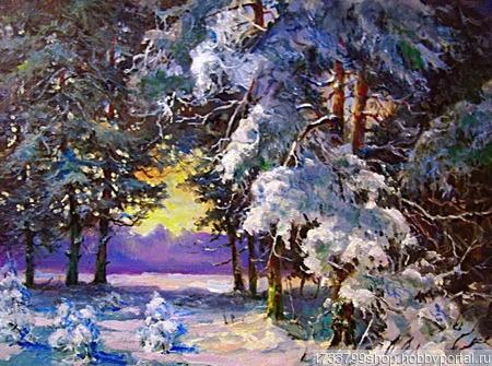 """Картина """"Зимний пейзаж"""" ручной работы на заказ"""