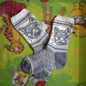 Носки шерстяные с кошкой