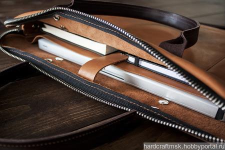 Сумка для ноутбука из натуральной кожи ручной работы на заказ