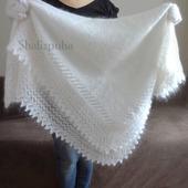 Белый теплый пуховый платок