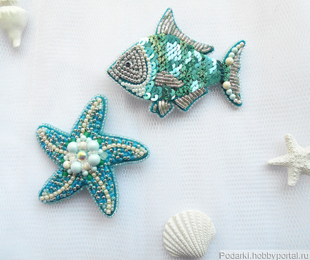 "Брошь ""Морская звезда"" ручной работы на заказ"