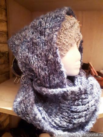 Уютная парочка - шапка-повязка и снуд-капюшон ручной работы на заказ