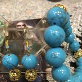 """Комплект украшений из бирюзы и лавы """"Голубая планета"""""""