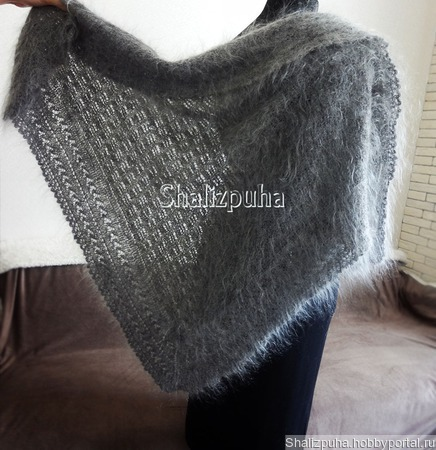 Пуховая косынка шаль серая теплая вязаная пушистая козий пух ручной работы на заказ