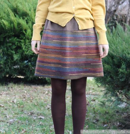 "Вязаная юбка короткая теплая ""Параллели"" ручной работы на заказ"