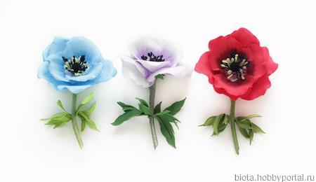 Брошь цветок голубая анемона ручной работы на заказ