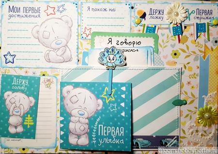 """Фотоальбом для новорожденного """"Мишка Тедди"""" ручной работы на заказ"""