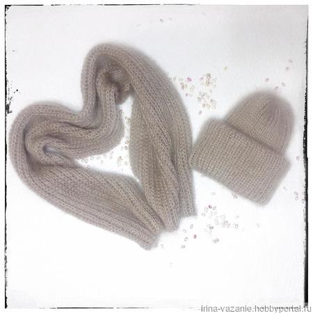 Шапка вязаная в стиле Такори из мохера ручной работы на заказ