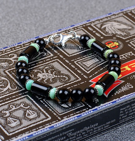 Браслет мужской Alex II (агат/оникс/хризопраз/серебро) мужской браслет ручной работы на заказ