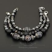 Комплект мужских браслетов агат/гематит/шунгит