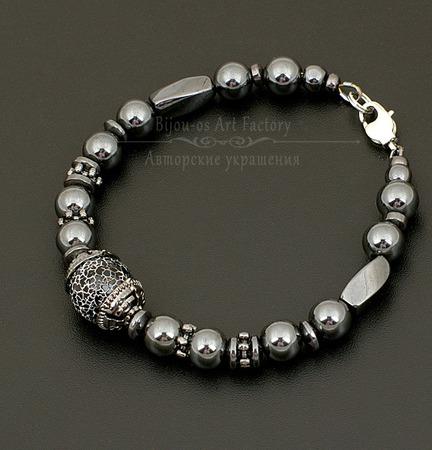 Комплект мужских браслетов агат/гематит/шунгит ручной работы на заказ