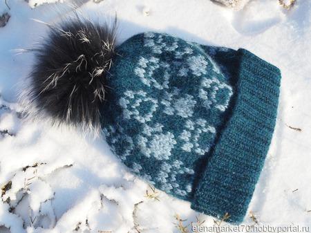 Жаккардовая шапка ручной работы на заказ