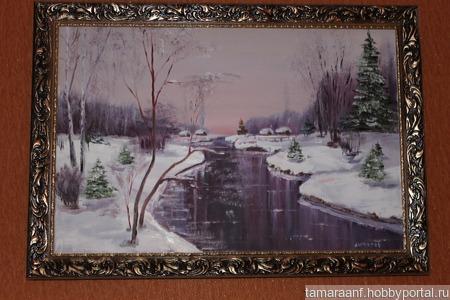 "Картина ""Зимняя река"" ручной работы на заказ"