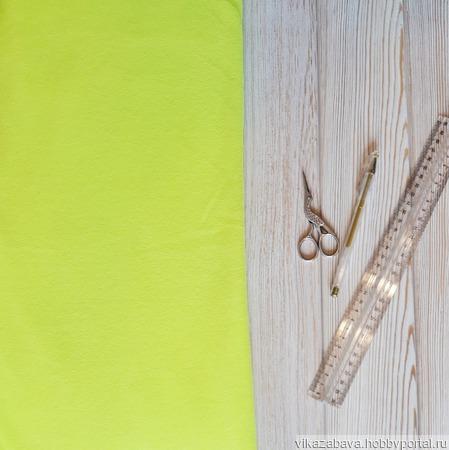 Флис ткань неоновый салатовый желто-зеленый ручной работы на заказ