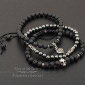 Комплект браслетов Мертвая голова  - лава/шунгит/агат/гематит