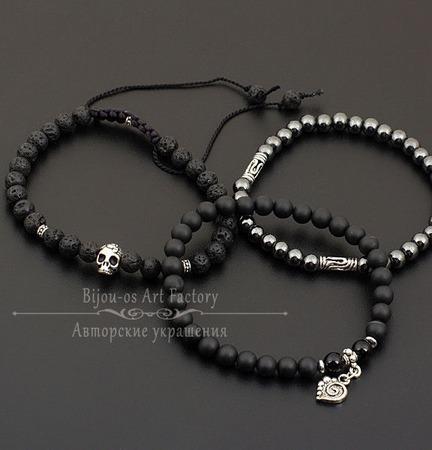Комплект браслетов Мертвая голова  - лава/шунгит/агат/гематит ручной работы на заказ