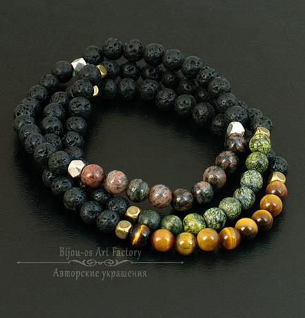 Браслеты на резинке из натуральных камней/змеевик агат яшма тигровый г ручной работы на заказ