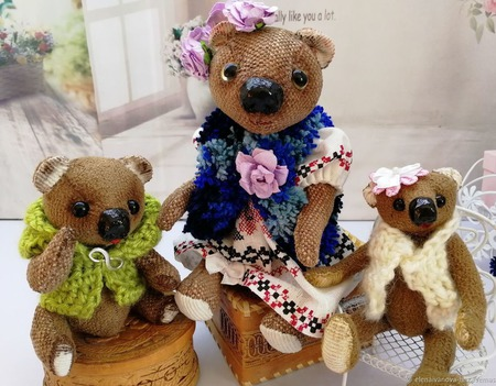 Медвежье семейство - Потап, Глафира, Тимошка и Маришка ручной работы на заказ