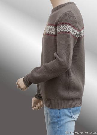 Мужской свитер с орнаментом ручной работы на заказ