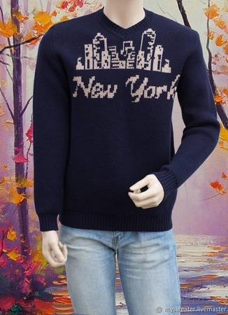 Мужской свитер New York ручной работы на заказ