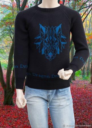 Мужской свитер с драконом ручной работы на заказ