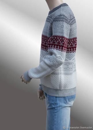 Мужской пуловер с орнаментом ручной работы на заказ