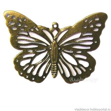 Накладка филигрань коннектор Ф-73 украшение бабочка ручной работы на заказ