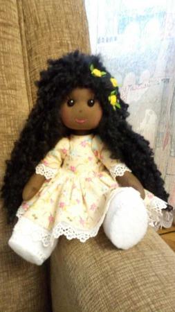 Текстильная куколка негритянка ручной работы на заказ
