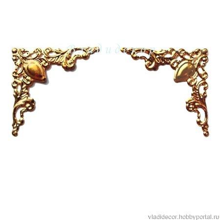 Филигрань декор уголки Ф-53  золото ручной работы на заказ