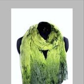 Шарф шёлковый лимонный и зелёный мох ручное крашение