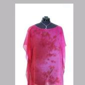 Туника пляжная шёлковая шифон цвет малиновый и вишнёвый красный