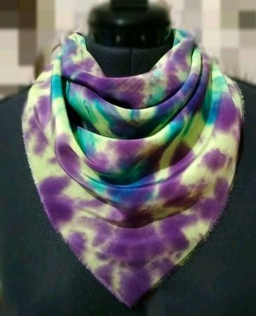 Шёлковый платок женский ручное крашение шибори подарок ручной работы на заказ