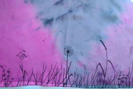 Туника-накидка шёлковая шифоновая серая с розовым шибори  роспись ручной работы на заказ