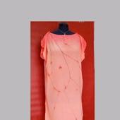 Туника-платье шёлковая цвет персиковый свободная роспись