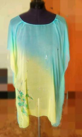 Туника-накидка шёлковая лимонно-бирюзовый с росписью ручной работы на заказ