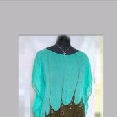 Туника  шёлковая цвет морская волна и кофе свободная роспись