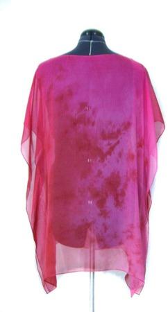 Туника пляжная шёлковая шифон цвет малиновый и вишнёвый красный ручной работы на заказ