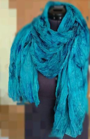 Женский шёлковый шарф-палантин большой сине-зелёный ручной работы на заказ