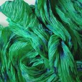Шарф шёлковый светло- изумрудный с синим