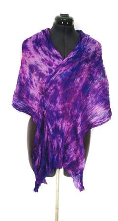 """Шёлковый шарф """"жатый"""" большой сине-фиолетовый ручной работы на заказ"""
