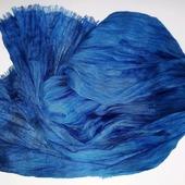 Льняной шарф бохо синий мужской женский