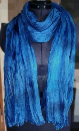 Льняной шарф бохо синий мужской женский ручной работы на заказ