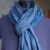 Шарф из льна мягкий сине-серый