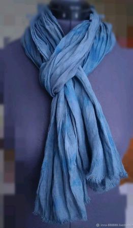Шарф из льна мягкий сине-серый ручной работы на заказ