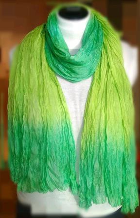 Шёлковый шарф женский цвет мята и лайм ручное крашение ручной работы на заказ