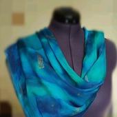 Шёлковый платок акварельный сине-зелёный