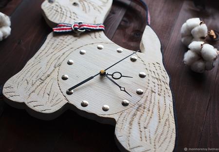 """Часы настенные """"Вестхайленд терьер"""" ручной работы на заказ"""