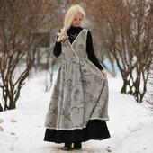 Платье-сарафан в стиле бохо. Зимнее платье
