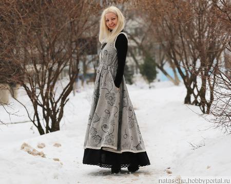 Платье-сарафан в стиле бохо. Зимнее платье ручной работы на заказ