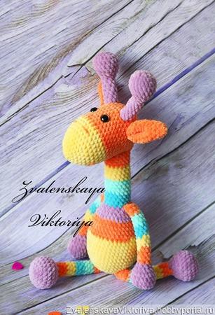 Жираф радужный плюшевый ручной работы на заказ